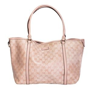 GUCCI PINK WEB TOTE GG COATED CANVAS MEDIUM